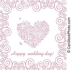 Beautiful greeting card with lacy heart shape