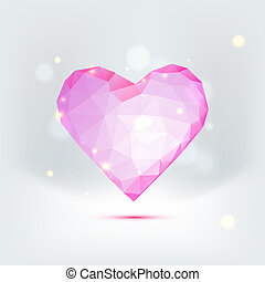 Beautiful greeting card with pink bow, polygonal heart and copy space.