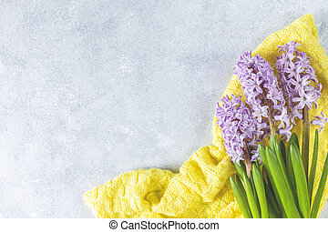 Beautiful greeting card with pink hyacinths and woolen yellow plaid on light gray surface. Happy Easter, Women, Valentines, Mothers Day, Birthday, wedding