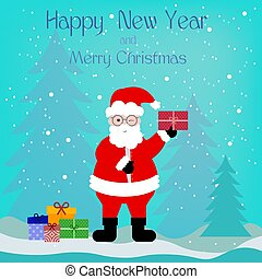 Beautiful greeting card with Santa Claus and gifts boxes