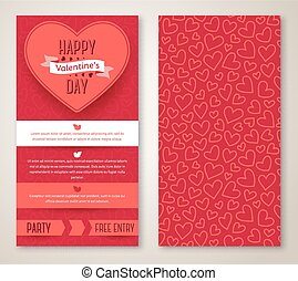 Beautiful greeting cards with heart pattern
