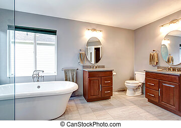 Beautiful grey new luxury modern bathroom interior.