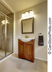 Beautiful grey new modern bathroom interior with sink