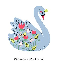 Beautiful Grey Swan Princess with Golden Crown, Lovely Fairytale Bird Decorated with Flowers Vector Illustration