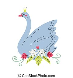 Beautiful Grey Swan Princess with Golden Crown, Lovely Fairytale Bird with Flowers Vector Illustration