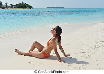 beautiful gril on beach have fun - beautifel and happy woman...