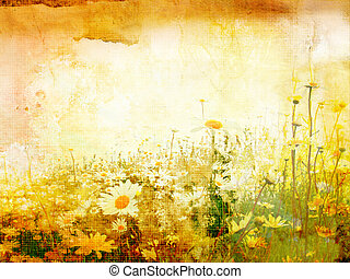 Beautiful grunge background with daisies