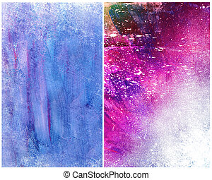 Beautiful grunge splatter background in vibrant purple and blue