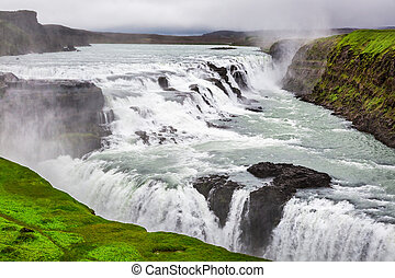 Beautiful Gullfoss waterfall in Iceland