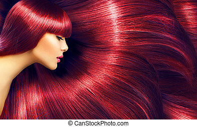 Beautiful hair. Beauty brunette woman with long straight red...