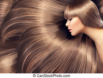 Beautiful hair. Beauty woman with shiny long hair as...