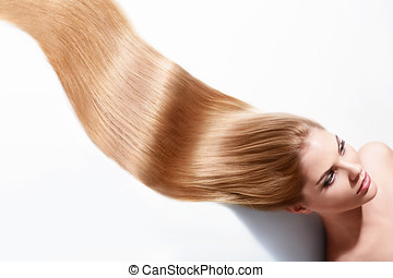 Beautiful hair - Girl with beautiful hair on a white...
