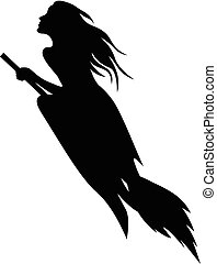 Beautiful Halloween witch silhouette