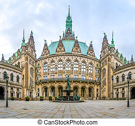Beautiful Hamburg town hall with Hygieia fountain from...