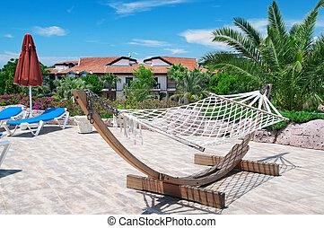 beautiful hammock in a cozy recreation area