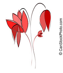 Beautiful hand draw flower with amazing blossoms