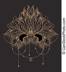 Beautiful hand drawn ornamental gold lotus flower. Ethnic patterned mandala in line art style. Vector illustration on black