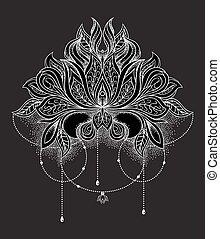 Beautiful hand drawn ornamental lotus flower. Ethnic patterned mandala in line art style. Vector illustration on black