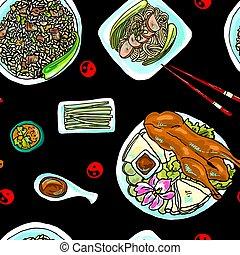 seamless pattern chinese food