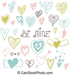 Beautiful hand drawn set of different hearts. Doddle style. Set of valentine hearts for your design.
