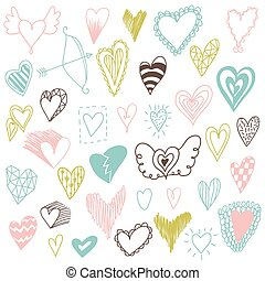 Beautiful hand drawn set of different hearts. Doddle style. Set of valentine hearts for your design