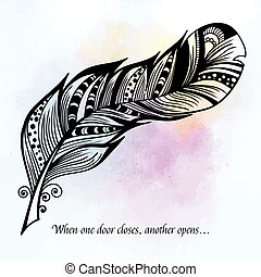 Beautiful hand drawn sketch of feathers for your design. Vector illustration