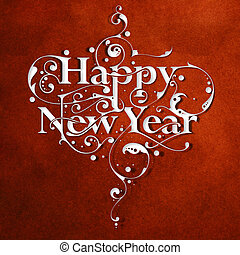 Beautiful hand-made ornamental typography Happy New Year on paper background