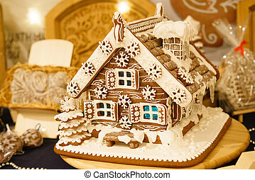 Beautiful handmade holiday gingerbread house