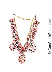 Beautiful handmade necklace. Isolated on a white background.