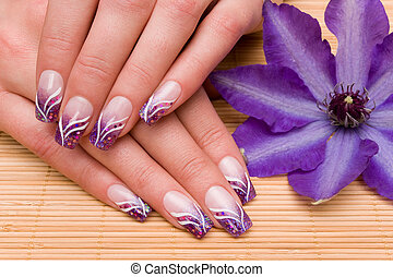 beautiful hands with fresh manicured nails