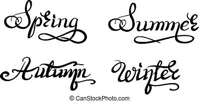 beautiful handwriting calligraphic title seasons