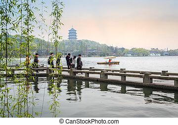 beautiful hangzhou west lake scenery in spring - beautiful...