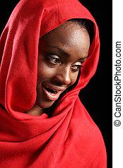 Beautiful happy African American muslim girl hijab