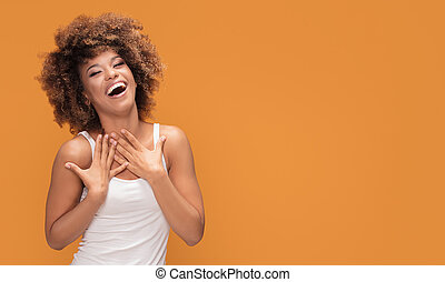 Beautiful happy african american woman with big smile.