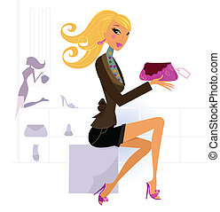 Beautiful happy blond woman shopping bag at the mall - Cute...