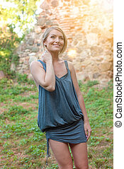 Beautiful happy blonde woman smiling