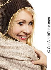 beautiful happy blonde woman wearing winter dress on white background
