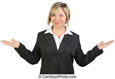 Beautiful happy business woman or teacher in suit with hands out as to present something. Clipping path over white.