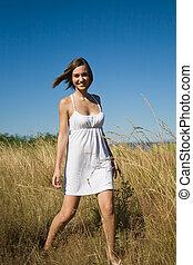 Beautiful happy caucasian girl