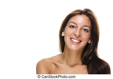 beautiful happy confident woman on white background