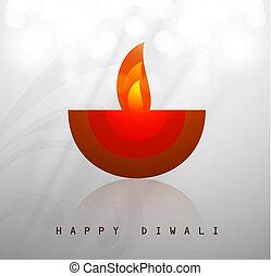 Beautiful happy diwali diya artwork vector