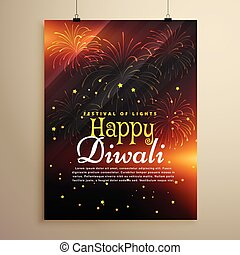 beautiful happy diwali flyer template with fireworks display