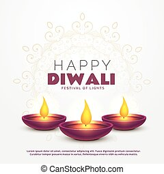 beautiful happy diwali greeting with burning diya for...