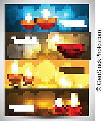 Beautiful happy diwali stylish bright colorful set of three headers vector