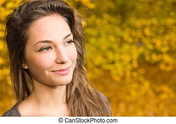 Beautiful happy fall fashion girl.
