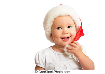 Beautiful happy funny baby in a Christmas hat  isolated