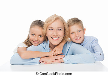 happy grandmother with grandchildren