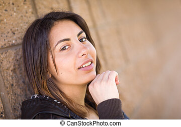 Beautiful Happy Mixed Race Young Woman Portrait Outside.