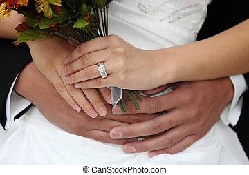 Beautiful Happy Newlywed Couple on Their Wedding Day