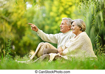 Beautiful happy old people sitting in the summer park. man pointing